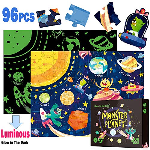 Sealive 96 PC Kids Puzzles Age 6 - Luminous - Space Solar System Science - Floor Continent Puzzle Talking Jigsaw Wooden Monster Planet, Glow in The Dark Map 4 to 8 Old Boys Kid Toddlers Spelling