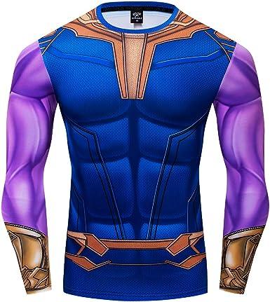 2018Avengers Infinity War Thanos Cosplay Sport  Gem Fitness Tight Tee T-Shirt
