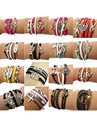 Wholesale 16pcs Vintage Multilayer Multicolor Woven Leather Alloy Owl Braided Infinity Bracelets