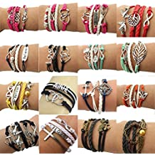 Juanerjie Wholesale 16pcs Vintage Multilayer Multicolor Woven Leather Alloy Owl Braided Infinity Bracelets