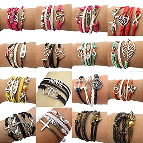 Wholesale 16pcs Vintage Multilayer Multicolor Woven Leather Alloy Owl Braided Infinity Bracelets - Bracelets