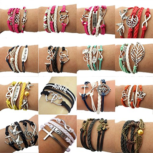 Wholesale Stainless Steel Bracelets - Juanerjie Wholesale 16pcs Vintage Multilayer Multicolor Woven Leather Alloy Owl Braided Infinity Bracelets