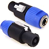 """Speakon to 1/4 Adapter Connector, Upgraded NANYI 1/4"""" Female to NL4FC Male Connectors are for Converting 1/4"""" Cables to NL4FC Plug for Speaker/Amplifier/Mixer (Speakon to 1/4 Adapter - 2PCS)"""