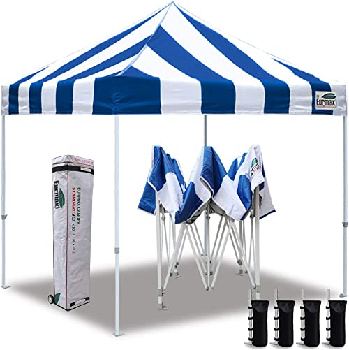 ABCCANOPY 10×10 Tent Pop-up Canopy Tent Instant Canopies Commercial Outdoor Canopy with Awning Wheeled Carry Bag Bonus 4X Weight Bag, White
