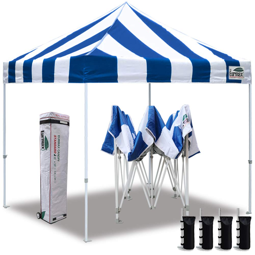 Eurmax 10 x10 Ez Pop Up Canopy Tent Commercial Instant Canopies with Heavy Duty Roller Bag Bonus 4 Sand Weights Bags Striped Blue