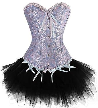 Corsage Dress Mujer Gothic De Corsage Burlesque Top Falda Encaje ...