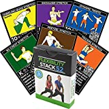 Stack 52 Flexibility Exercise Cards. Learn Static Dynamic Stretches. Video Instructions Included. Perfect Workout Warm Ups Cooling Down. Increase Joint Range Motion Safely.
