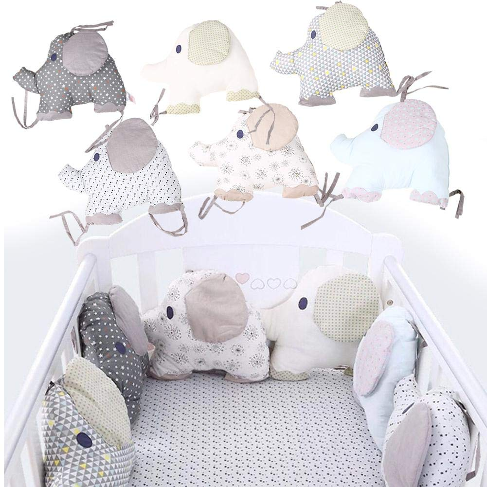 Cot Bed Rail Bumpers 100% Cotton Percale Breathable Padded Mesh Crib Bumper Pad, Cradle Protector, 6 Pack iBaste_S