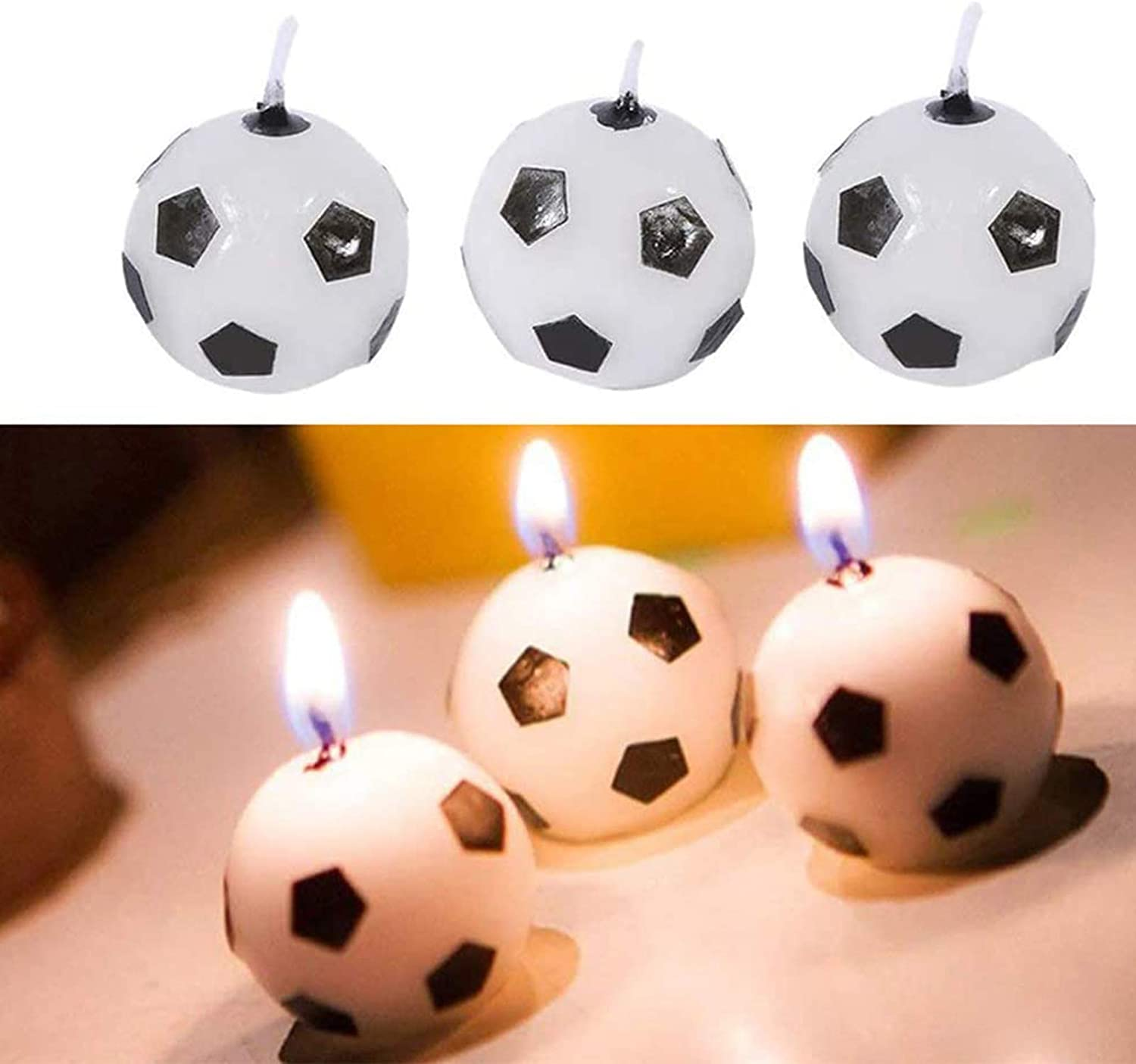 6Pcs Football Cake Candles Decoration Soccer Ball Birthday Party Supplies for Kids Toy Gifts Home Decoration