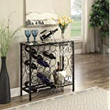 Black and Marble Look Top with 24 Bottles and Glass Holder Wine Organizer Rack Cabinet Kitchen 36