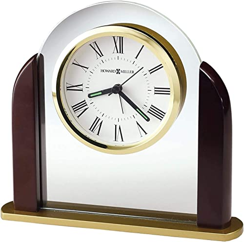 Howard Miller Derrick Table Clock 645-602 Modern Glass Arch Home Decor with Quartz Alarm Movement
