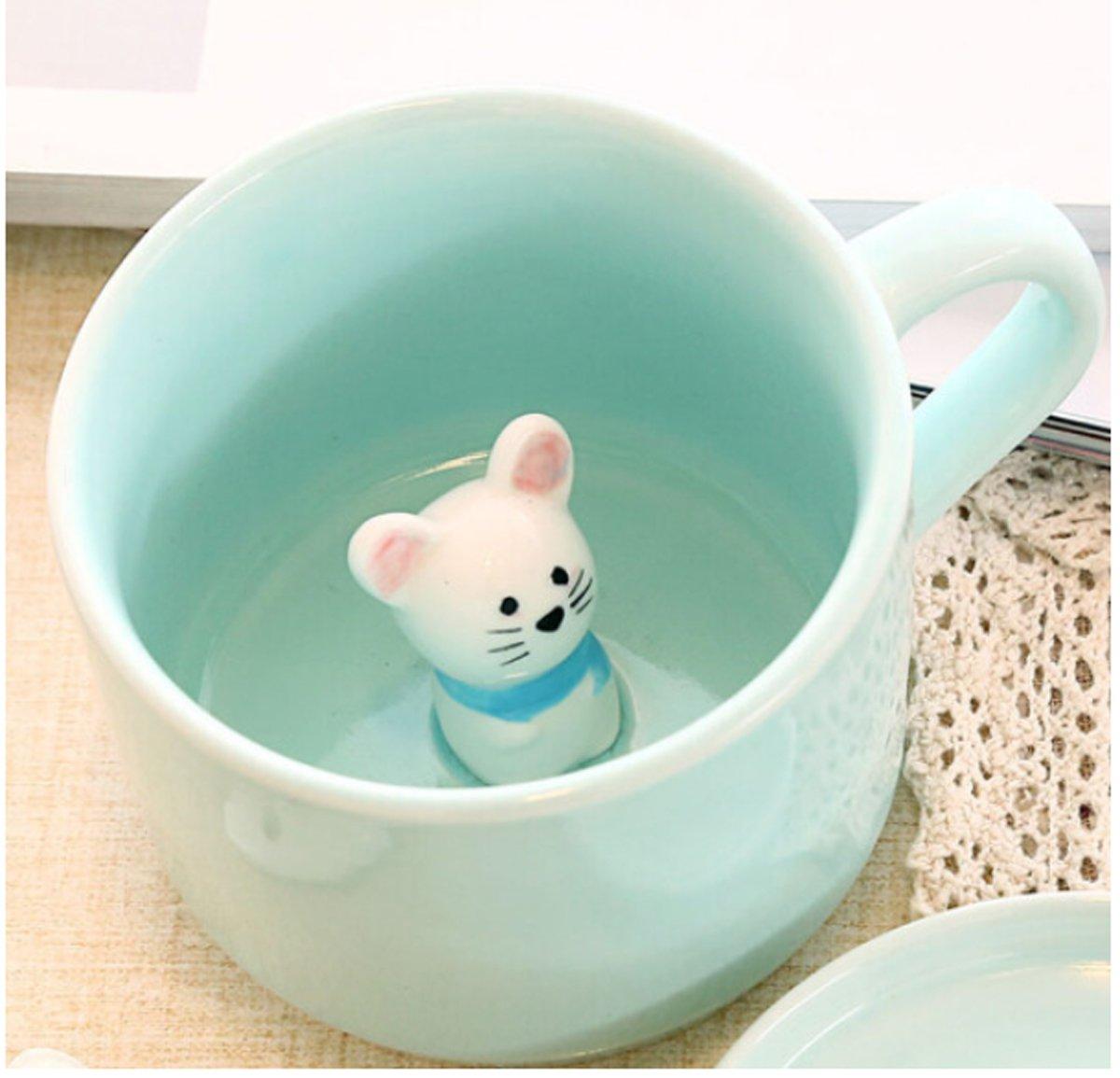 Baby Mouse - 3D Cartoon Animal Inside, Cute Ceramic Mug Funny Coffee Mugs - 8 OZ