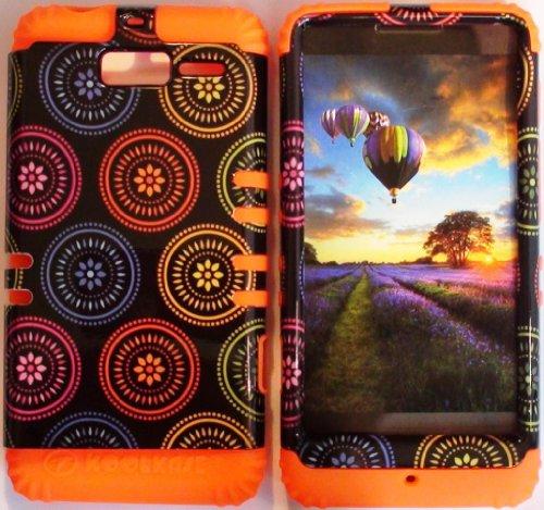 Cellphone Trendz (TM) Hybrid Rocker High Impact Bumper Case Colorful Circular Aztec Tribal / Orange Silicone for Motorola Droid Razr M (XT907, 4G LTE, Verizon)