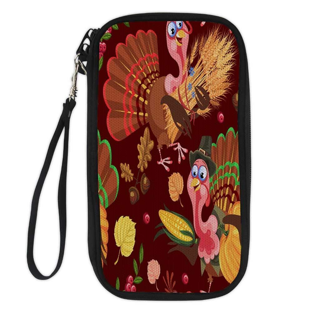 wallet for passportpassport organizer walletSeamless pattern cartoon thanksgiving turkey character in hat with harvest leaves acorns corn autumn holiday bird vector illustrat 9.1x4.7x0.8