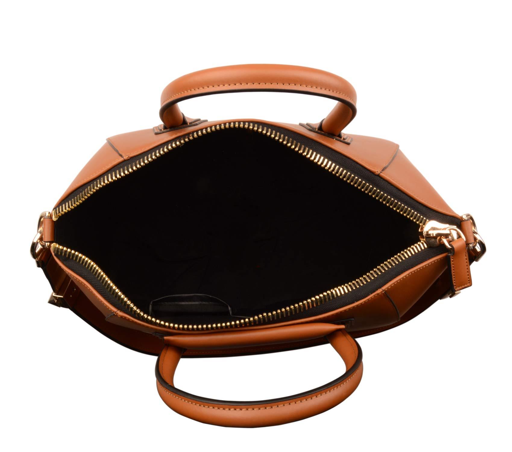 Ainifeel Women's Genuine Leather Simple Everyday Purse Top Handle Handbag Shoulder Handbags(Medium, Brown) by Ainifeel (Image #7)