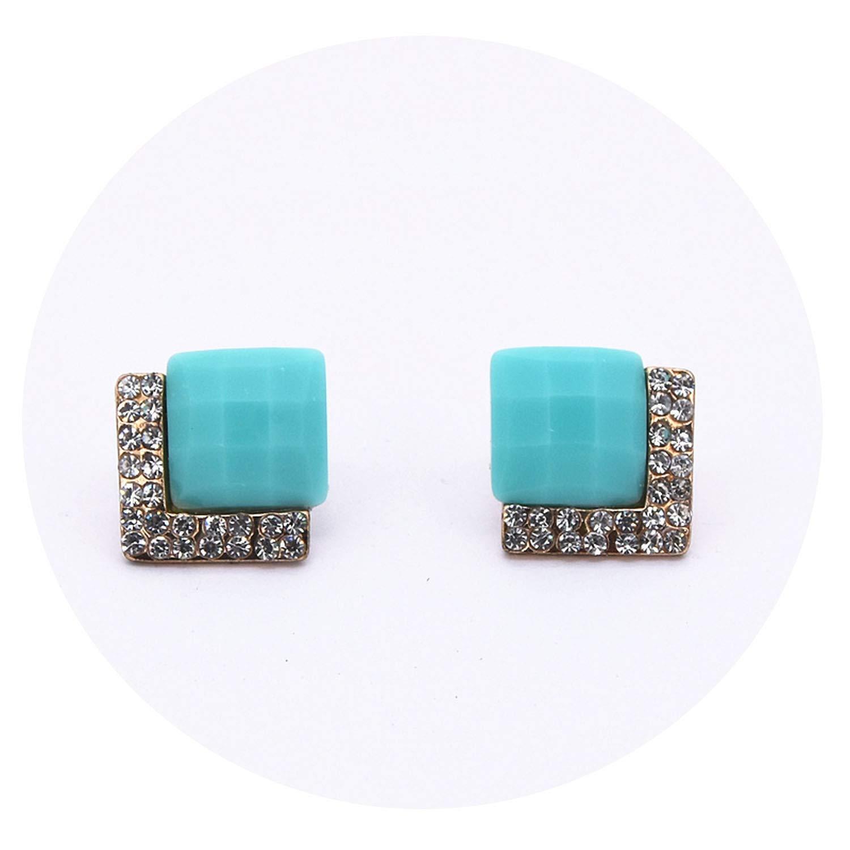 Fashion Earrings Ol Style Geometric Square Crystal Stud Earrings Rhinestones For Women Jewelry Girl Gift