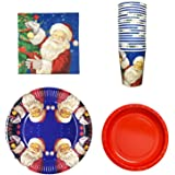 Disposable Paper Dinnerware Set - Serves 20- Including Napkins, Paper Dinner Plates,Red Dessert Plates and Paper Cups,Santa Theme