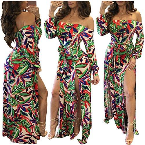 Beach Club Short - Romper Split Maxi Dresses Off Shoulder Floral Party Split Long Sleeve Dressy Jumpsuit 2017 Flower L