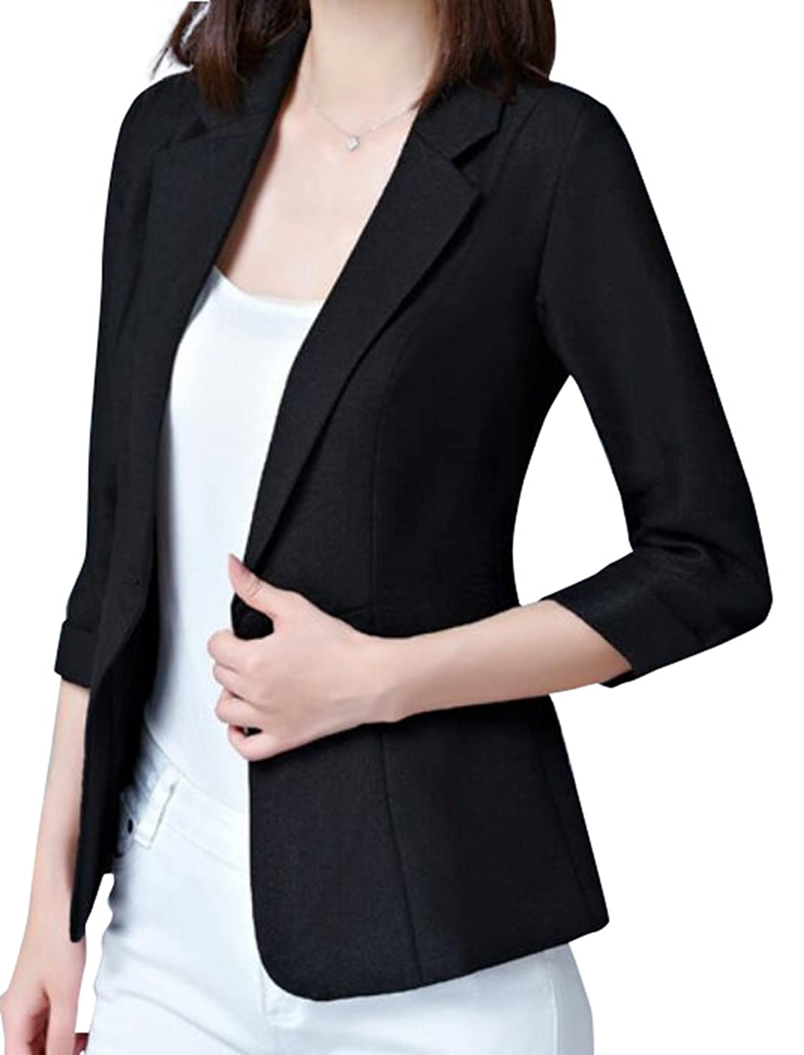 Hot Fensajomon-Women 3/4 Sleeve One Button Slim Fit Work Blazer Jacket Suit Coat for cheap