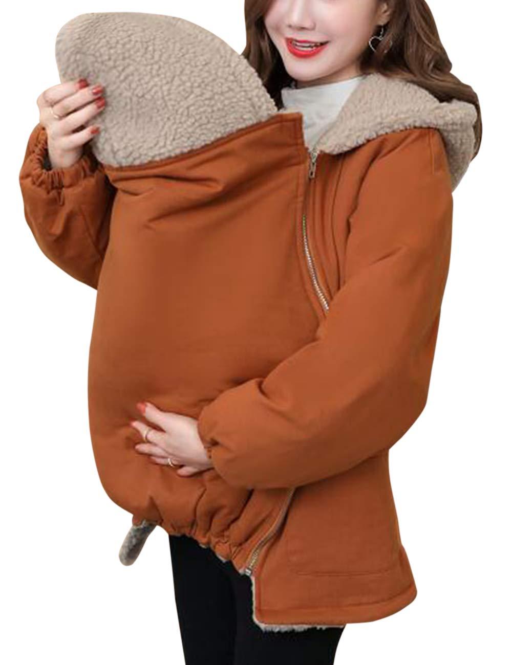 Chaud Protection de B/éb/é D/étachable Poche TAAMBAB Hiver Manteau /à Capuche Veste pour Maman et Porte-b/éb/é Maternit/é Enceinte Pardessus
