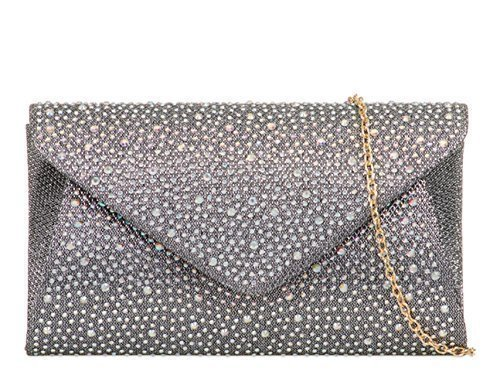 C30 Grey Clutch Hand Party Bags Womens Foldover Prom Glitter Occasion Dressy Shimmer Ladies Evening Envelope Diamante wfSa6qxH
