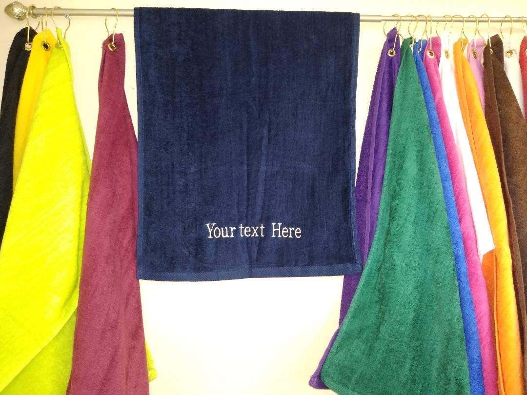 Wholesale 12 or 20 Personalized Hand Towels, Gym, Golf, sports, Clubs Embroidery Names, Custom, Bowling, with hook and Grommet, Grey, blue, red, black, white, orange, Maroon, Green, Pink, Purple,