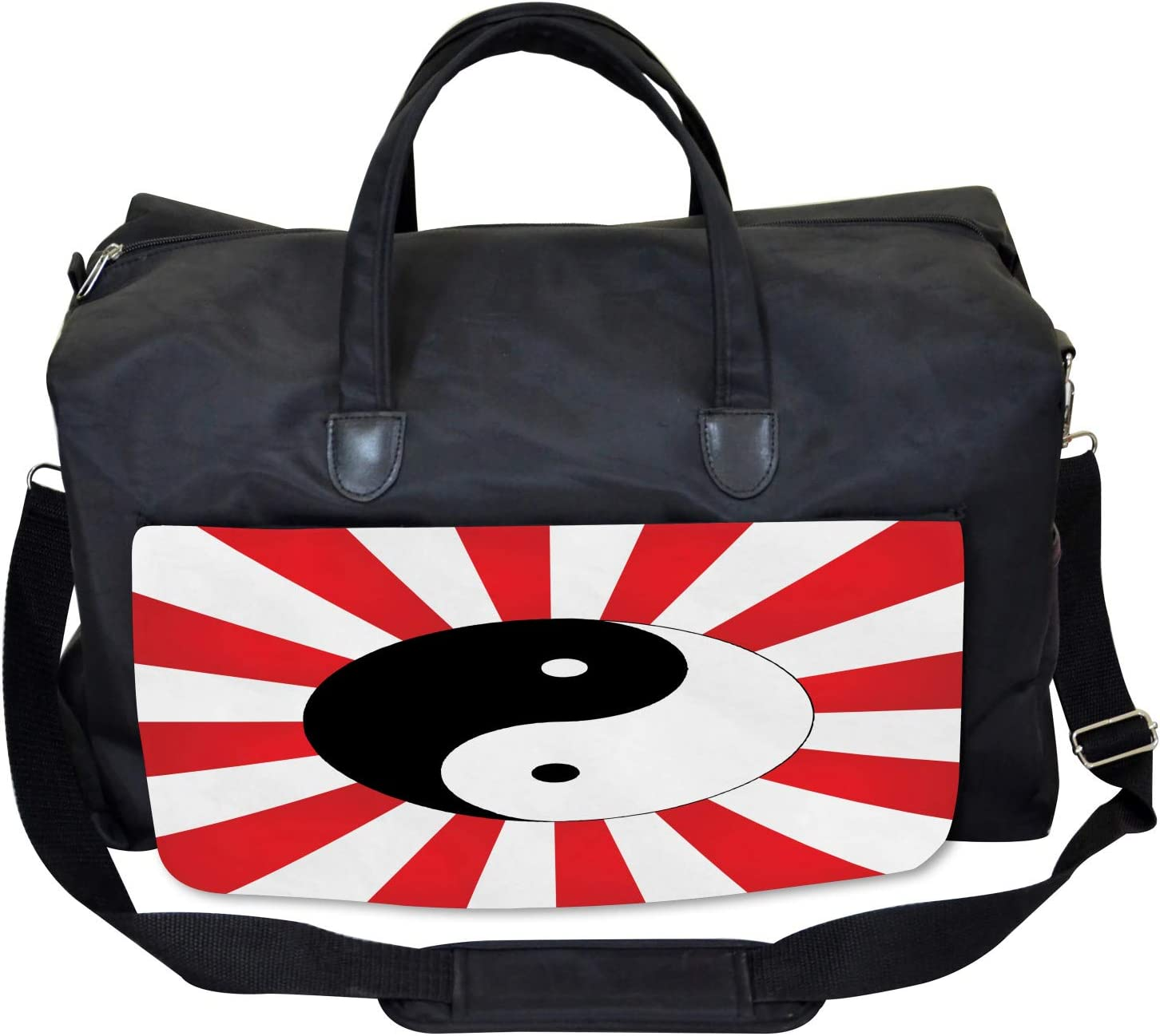 Ambesonne Ying Yang Gym Bag Asian Chinese Sun Large Weekender Carry-on