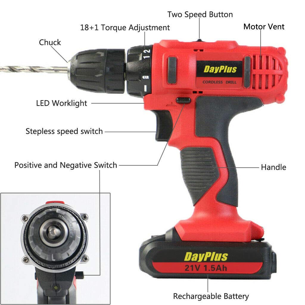 2 Speed Combi Cordless Impact Drill 18+1 Torque Setting 29-Pieces 21V Max 1400rpm Power Drill Set with 2 Lithium Ion Batteries Charger Tool Case