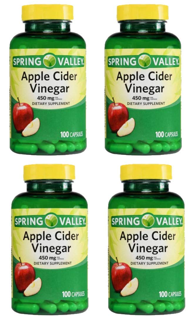 4 Pack Spring Valley Apple Cider Vinegar Dietary Supplement Capsules 450mg 100 ct per Bottle by Spring Valley