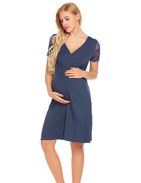 gagacity Vestido de Lactancia Maternidad de Noche Camisón Mujeres Embarazadas Ropa de Dormir Pijama Verano Encaje