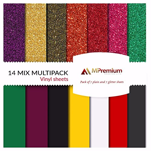 MiPremium PU Heat Transfer Vinyl, HTV Iron On Vinyl Starter Pack, Combo BUNDLE Kit Of Heat Press Vinyl in 14 Most Popular Glitter & Plain Colors, Easy Cut, Weed & Press (14 x Combo (Medium Brown Chenille Fabric)