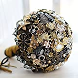 Iffo dark golden golden black retro style bride wedding bouquet (Bride bouquet)