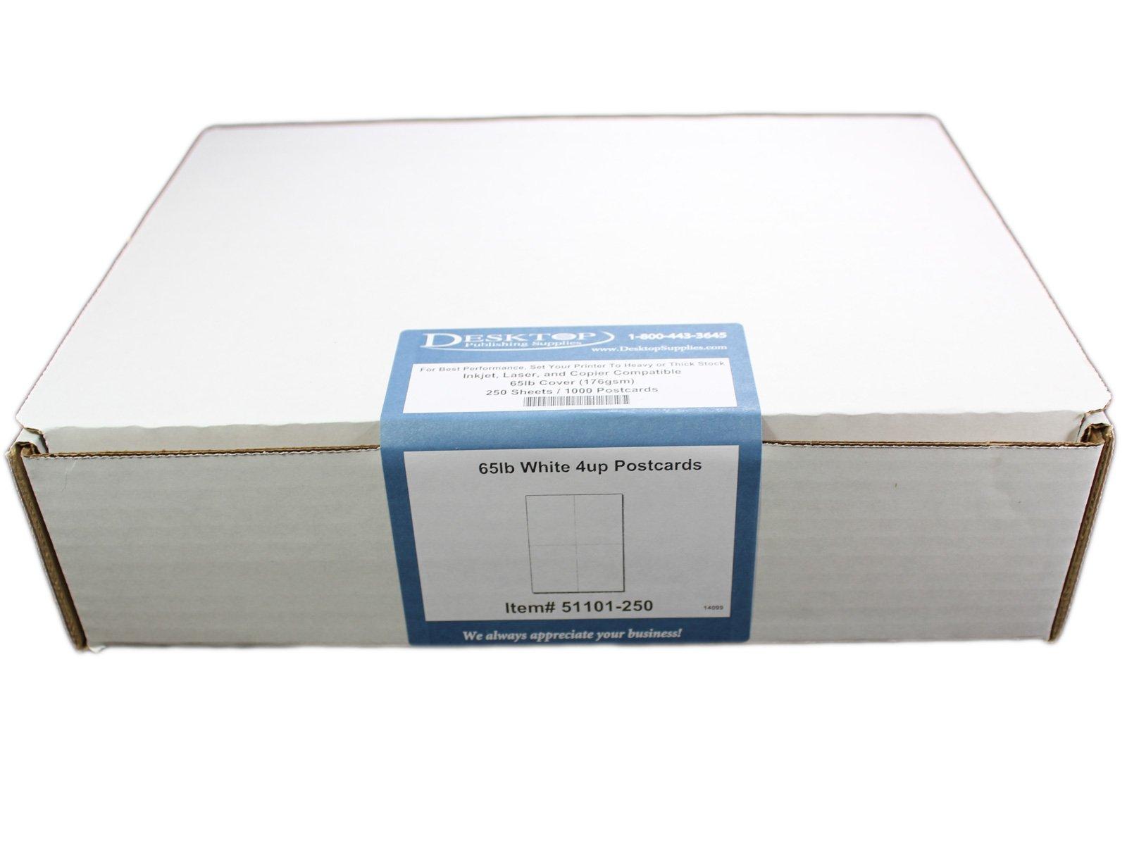 65lb White 4up Postcards - 250 Sheets/1000 Postcards - Desktop Publishing Supplies, Inc.TM Brand