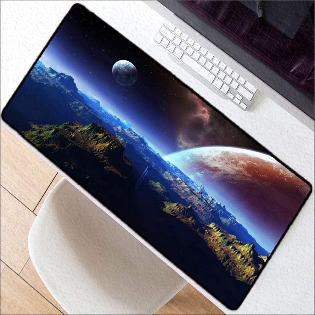 WHFDSBD 900400Mm Large Size Desk Lock Edge Mouse Pad Office Table Mat Fashion Stars Moon Pattern Pad for Laptop Keyboard Mat