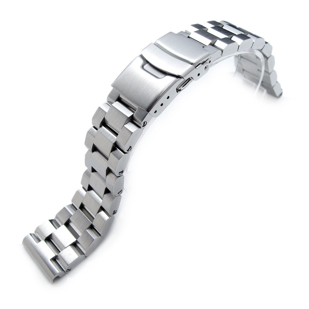 22mm Hexad Oyster 316L Stainless Steel Watch Band Straight End Lug, Diver Clasp Brushed