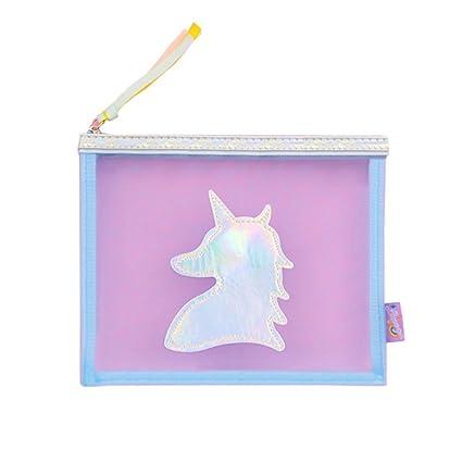 Unicornio Clear Transparente Grenadine PVC Cosmetic Bag Viajes Maquillaje Bolsas Organizador Bolsas Para Mujeres Niñas,