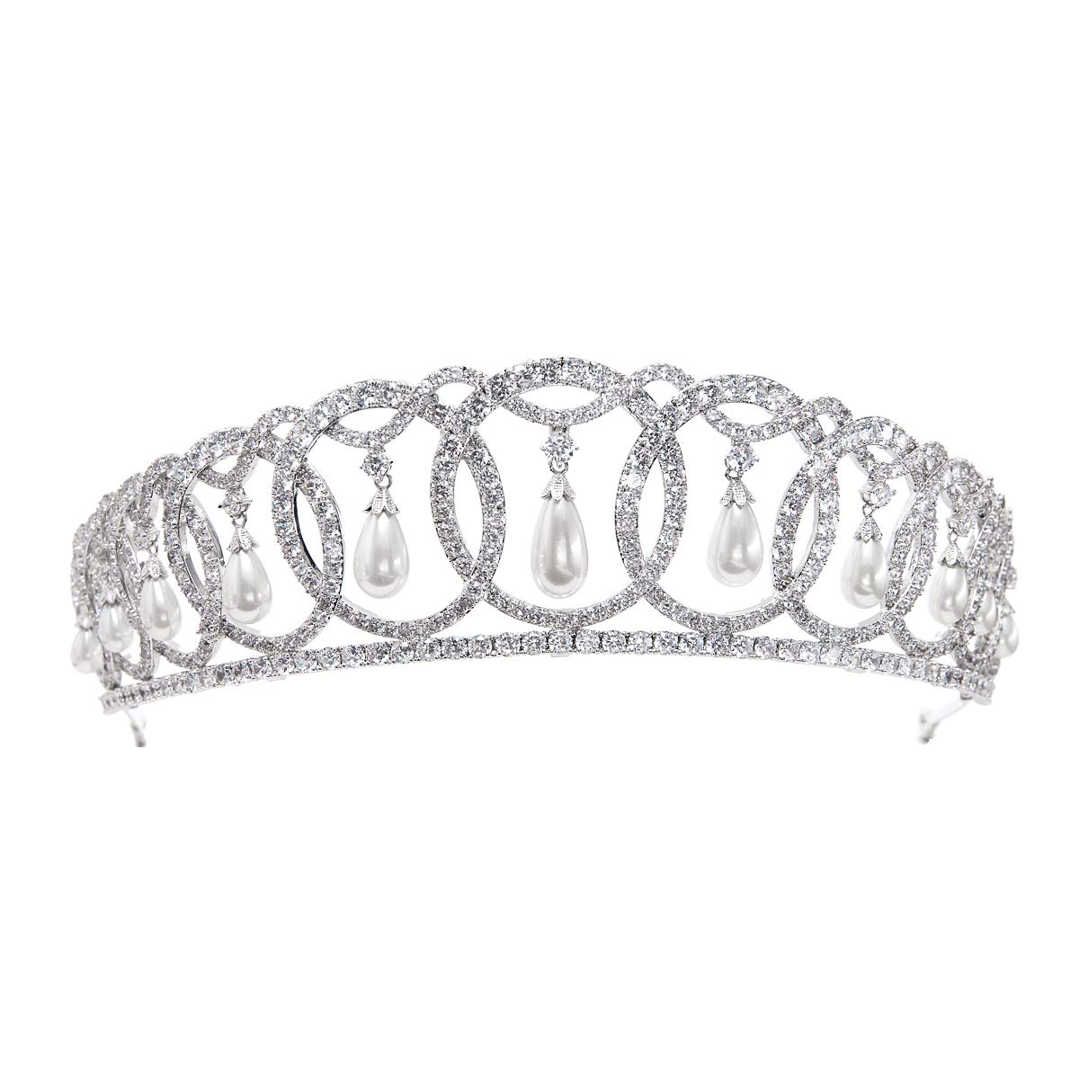 SepBridals Classic Cubic Zirconia CZ Pearls Wedding Bridal Tiara Crown Diadem Women Hair Accessories CH10223 by SEPBRIDALS (Image #1)