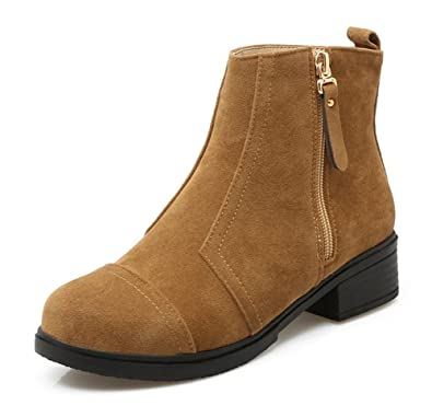 Aisun Damen Basic Nubukleder mittlerer Blockabsatz Kurzschaft Stiefel Grau 36 EU JJMJoWKyO5