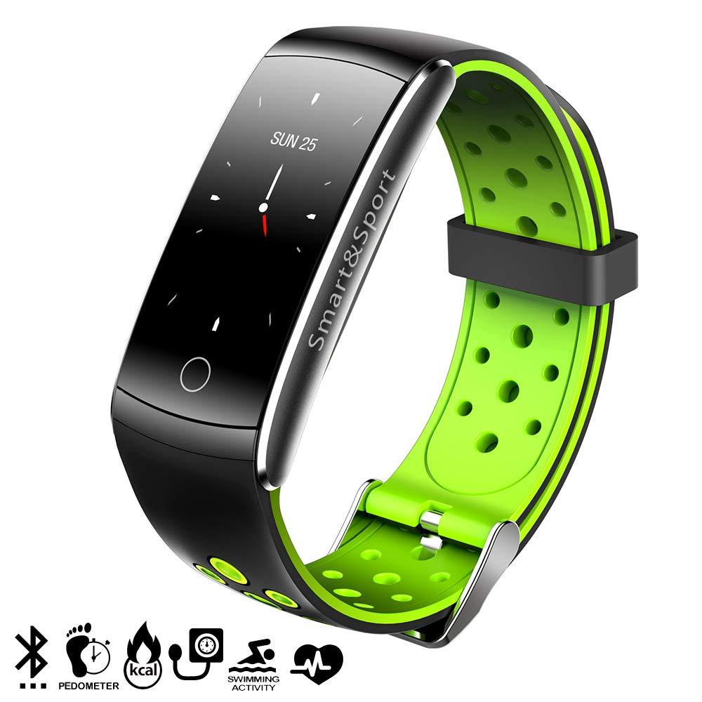 DAM Tekkiwear AK-Q8S - Pulsera Inteligente Bluetooth (Sumergible, Podómetro, Monitor Cardíaco y de Presión Sanguínea) Negro/Verde