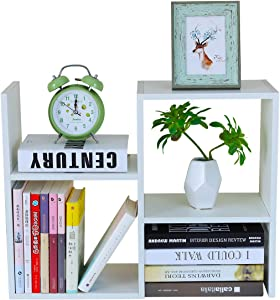PAG Desktop Bookshelf Freestanding Wooden Countertop Bookcase Accessories Organizer Display Rack Dorm Desk Storage Shelf, White