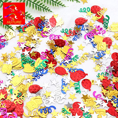 Huture Happy Birthday Confetti Sprinkles Table Scatters Embossed Foil DIY Arts and Crafting Metallic for Girls Boys Kids Birthday Party Festival Decor (Colorful Mix, 1.1oz)