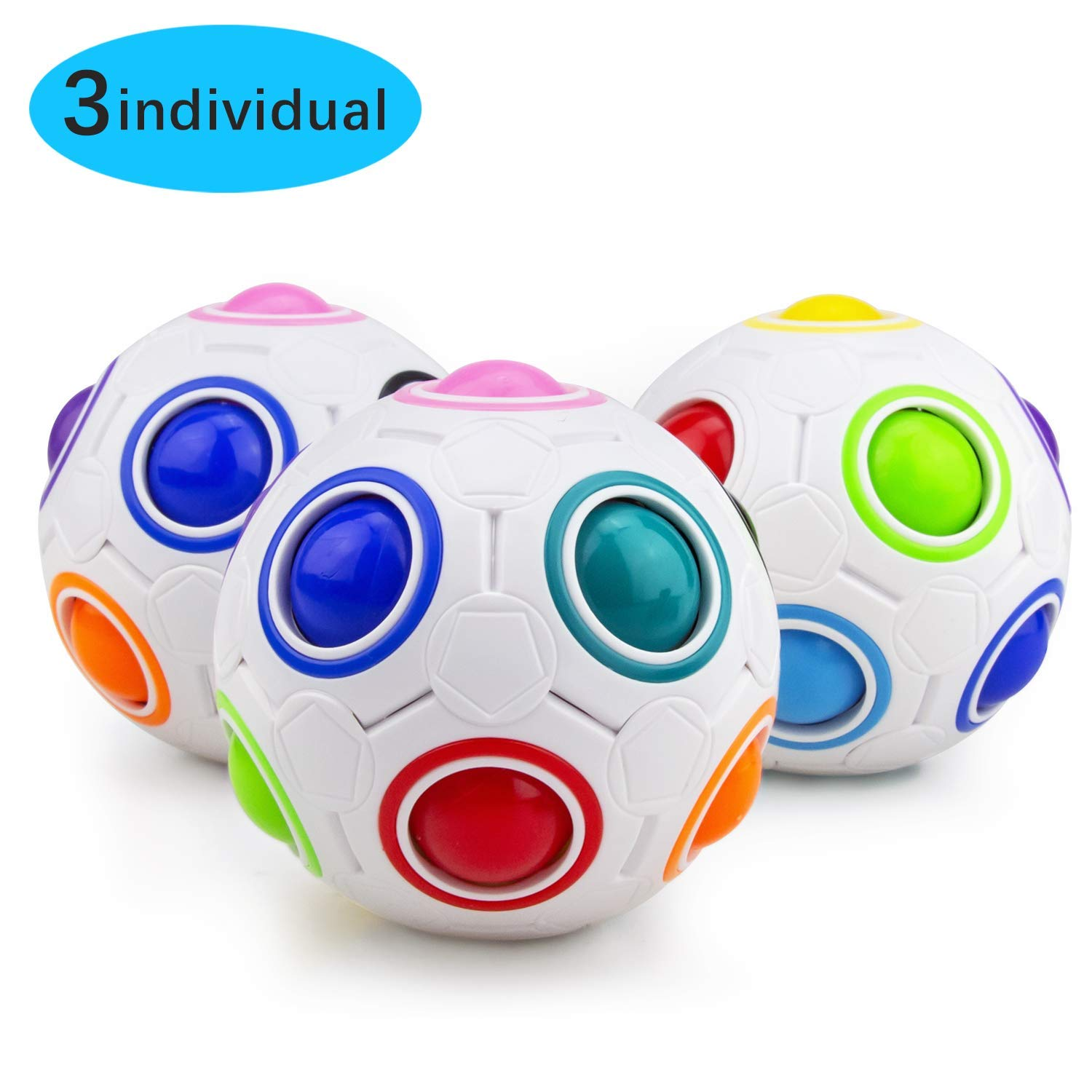 Welltop Magic Rainbow Ball 3 Pack Fidgit Ball Puzzle Speed Cube Educational Toys Rainbow Puzzle Ball Stress Relie for Kids and Adults