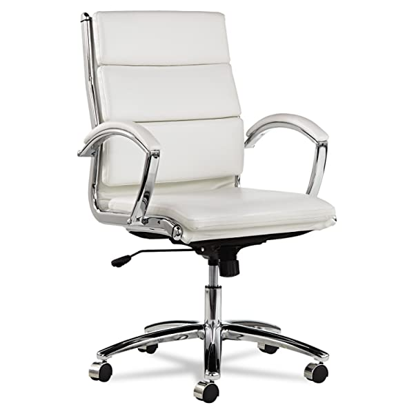 Alera ALENR4206 Neratoli Mid-Back Swivel/Tilt Chair, White Faux Leather, Chrome Frame