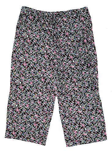 Secret Treasures Black Floral Knit Sleep Capri Pants - Large - Knit Sleepwear