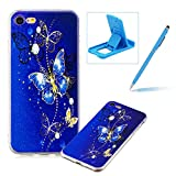 Soft TPU Case for iPhone 8,Shock-Absorbing Rubber Case for iPhone 7,Herzzer Stylish Slim Fit Golden Butterfly Pattern Shockproof Scratch Resist Flexible Silicone Back Cover