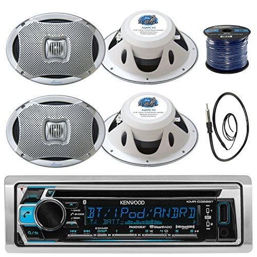 Kenwood KMR-D368BT In-Dash Marine Boat Audio Bluetooth CD Player Receiver Bundle Combo With 4x 500 Watts 6X9-Inch 2-Way Marine Silver Coaxial Speakers + Radio Antenna + 16g 50FT Marine Speaker Wire