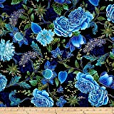Timeless Treasures Tree of Life Metallic Eden Large Floral Black Fabric By The Yard