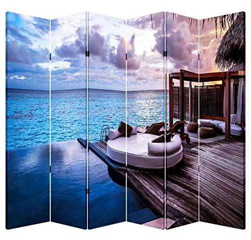 Toa 6 Panel Folding Screen Canvas Privacy Partition Divider- Ocean Balcony
