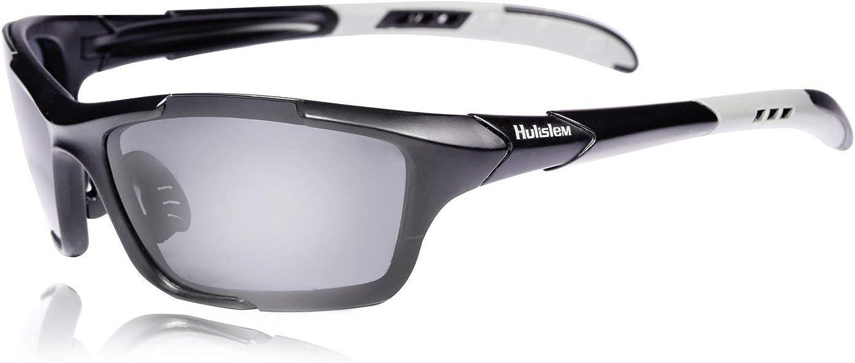 Hulislem S1 Sport Polarized Sunglasses FDA Approved (Matte Black-Smoke) Sunglasses For Men Women Mens Womens Running Golf Sports: Sports & Outdoors