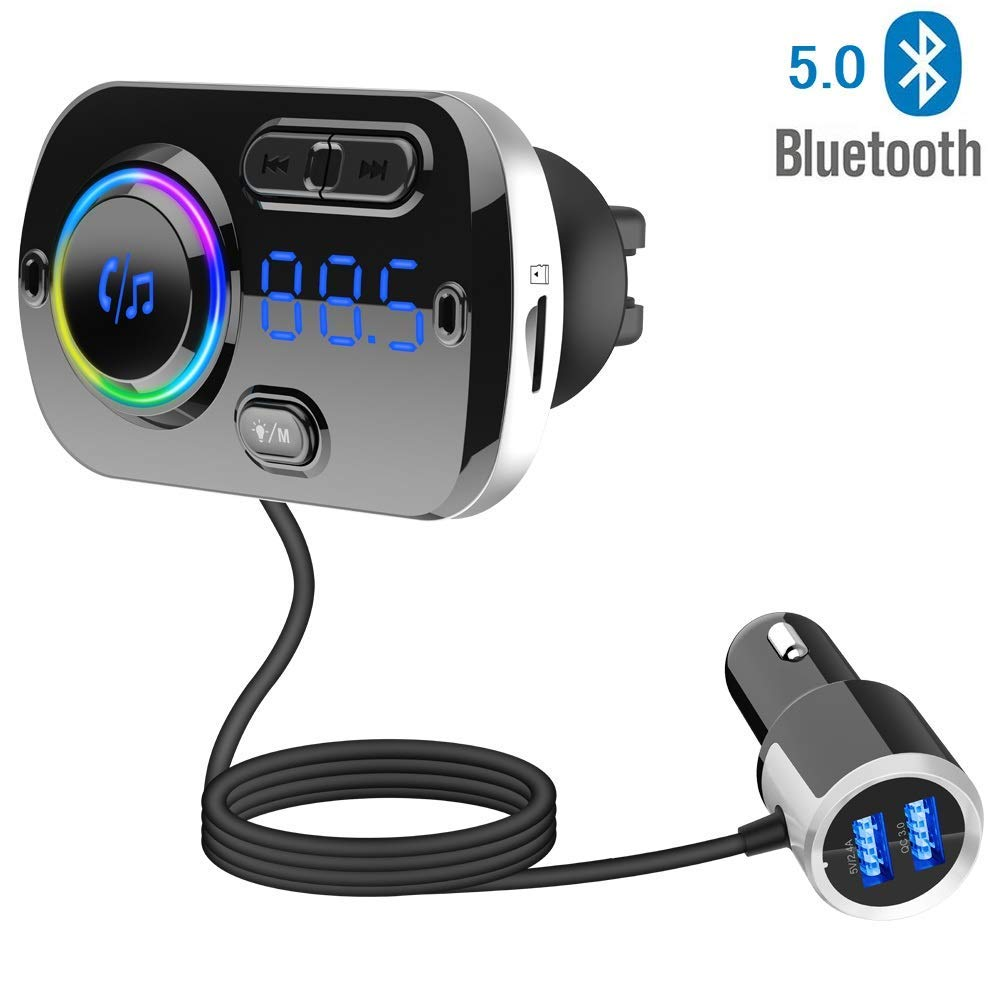 Bluetooth 5.0 Car FM Transmitter Easy to Clamp//Paste MP3 Car Charger with 2 USB Ports Hands-Free Calling Wireless Bluetooth Radio Transmitter Support AUX Input TF Card Audio Adapter and Receiver